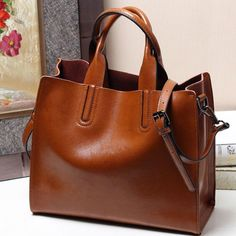 Style Genuine Leather Handbag Soft Oil Wax Cow Leather Tote Bag Casual European And American Shoulder Bags