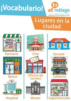 If you're walking by the #city #center you might come accross different #shops and #places, here is a few example :) #LearnSpanish #SpanishSchool #SpanishVocab