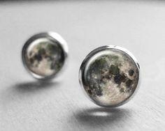Moon Earrings, Moon Earring Stud, Full Moon Earrings, Space, Universe, Galaxy, Valentines Day Gift E097
