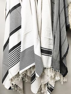 White with black stripe fouta beach blanket Measures x Cotton with large stripes and pom pom fringe Black And White Towels, Black And White Beach, White Throw Blanket, Beach Blanket, Textiles, Walk In Shower Designs, White Farmhouse, Home Design, Design Ideas