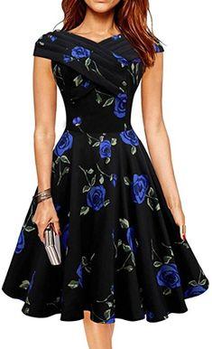 VKStar® A-Linie V-Ausschnitt Sommer Vintage 1950s Klassisch Damen Kurz Arm Blumen Muster Kleid Audrey Hepburn Style Rockabilly Swing Abendkleid Cocktail Partykleid Blau BlumenM: Amazon.de: Bekleidung