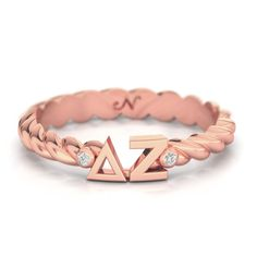 Delta Zeta Rose Gold Pavé Twist Letter Ring