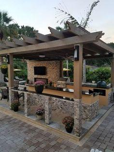 Outdoor kitchen frame from DeWitt Business LLC. We can help you with your . - Outdoor kitchen frame from DeWitt Business LLC. We can help you build your outdoor kitchen dream an - Diy Outdoor, Outdoor Kitchen Design, Patio Lighting, Patio Design, Backyard Bar, Outdoor Projects, Outdoor Fireplace, Outdoor Kitchen Decor, Outdoor Design