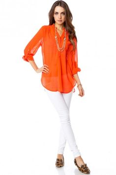 Pure Chiffon Blouse in Tomato - ShopSosie.com