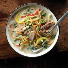 Creamy coconut is balanced with tangy lemongrass in this Asian-style soup that's brimming with nutritious and fiber-rich vegetables.