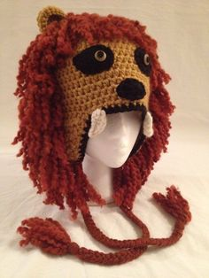 Crochet Harry Potter's Luna Lovegood's Gryffindor Lion Inspired Hat (Made to Order). $28.00, via Etsy.