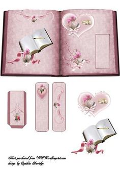 wedding book with bookmark on Craftsuprint designed by Cynthia Berridge - wedding book with bookmark and decoupage - Now available for download!