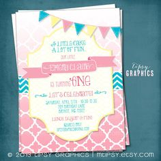 Cake & Fun.  Ombré Quatrefoil Birthday / Baby / Bridal Shower Invite By Tipsy Graphics by MTipsy on Etsy https://www.etsy.com/listing/128197931/cake-fun-ombre-quatrefoil-birthday-baby