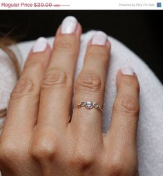 Simple Diamond Ring, Zirconia Ring, Silver CZ Diamond Ring, Mini Diamond Ring