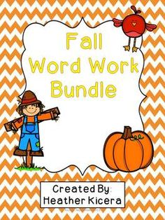 Word work activities with a fall theme!  Activities for primary age students including:  -Matching uppercase- lowercase letters  -Matching pictures to their beginning sound  -Find the beginning and ending sound  -Blending practice  -Cut/paste to find the beginning sound  -Making words out of fall words: pumpkin, scarecrow