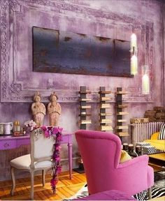 anotherboheminan:  (via pink and yellow living room / interior design | Living Home)