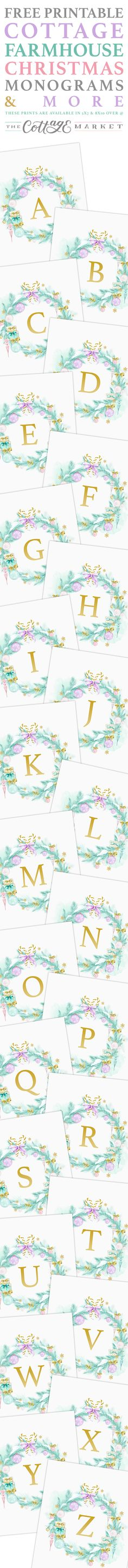 Come and snatch up your Free Printable Cottage Farmhouse Christmas Monograms...they are so pretty in all their Shabby Chic Cottage Style. CREATE & ENJOY!