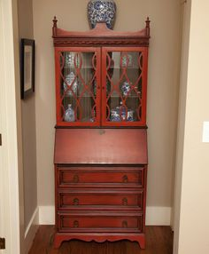 Chinese Red Painted Dresser With Lion Head Hardware 429