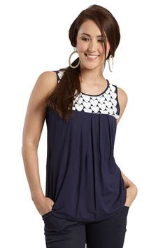 Je T'aime Sleeveless Maternity & Nursing Top (India Ink) by Mothers en Vogue