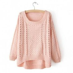 Cheap Wholesale Women's Plus Size Openwork High-Low Hem Cable Knit Sweater (PINK,ONE SIZE) At Price 14.92 - DressLily.com