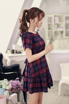 Asian Fashion - Round neck short sleeve Slim dress - AddOneClothing Korean Fashion Trends, Korean Street Fashion, Asian Fashion, Girl Fashion, Fashion Women, Tokyo Fashion, Korea Fashion, India Fashion, Fashion Boots
