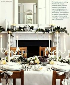 Inspiring Interiors: White Christmas - elegant dining room with a lovely holiday mantel Elegant Christmas Decor, Magical Christmas, White Christmas, Christmas Holidays, Christmas Trends, Winter Holiday, Country Christmas, Beautiful Christmas, Christmas Table Settings
