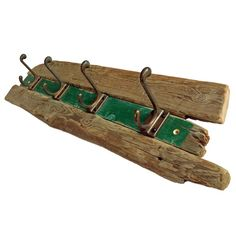 Green Driftwood Coat Hook Rail