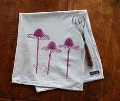 Coneflower Flour Sack Tea Towel - Hand Screen Printed - Hostess Gift - Mothers Day - Echinacea Flowers