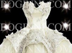 Boginni Co Victorian Design Embroidery Off White Tulle Ballgown Wedding Dress | eBay