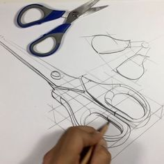 Hi everyone! Today #product quick sketch ; scissors / 4 min ! #scissors 3d Drawings, Drawing Sketches, Pencil Drawings, Drawing Ideas, Sketching, Scissors Drawing, Scissors Design, Architecture Concept Drawings, Observational Drawing