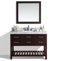 "48"" Laguna Espresso Single Modern Bathroom Vanity with White Marble Top and Undermount Sink #BathroomRemodel #BlondyBathHome #BathroomVanity  #ModernVanity"