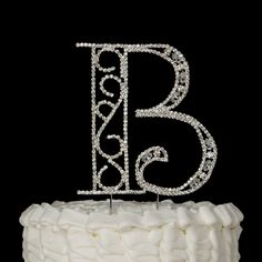 Letter B Wedding Cake Topper - Crystal Rhinestone Silver Monogram Party Decoration Get the Best for the Big Moment: This gorgeous cake topper will be the perfect addition to your wedding or anniversar