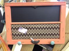 Old Window - Coral Shabby Chic - chalkboard & Chevron Burlap Covered Cork Board - Turquoise Knobs - Farmhouse chic. $65.00, via Etsy.