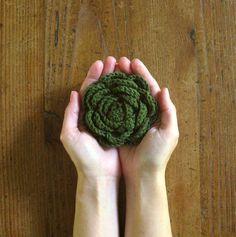Woodland wedding Brooch, Green Flower Brooch, Vera Jayne, Crochet Brooch Pin, Bridesmaids accessory, Gift for her, Dark Olive Green