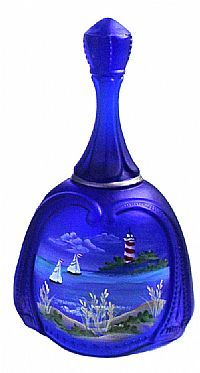 Fenton Art Glass - 7'' Cobalt Satin 'Serene Waters' Bell