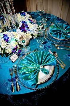 Royal blue and teal with hints of gold in the napkin rings and beaded chargers Royal blue and teal with hints of gold in the napkin rings and beaded chargers Purple Wedding, Wedding Bride, Wedding Table, Rustic Wedding, Dream Wedding, Reception Table, Wedding Color Schemes, Wedding Colors, Wedding Flowers