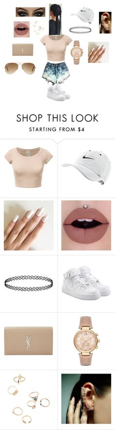 """Untitled #113"" by jasmine-fry ❤ liked on Polyvore featuring NIKE, Yves Saint Laurent, Michael Kors, Mike Saatji and Ray-Ban"