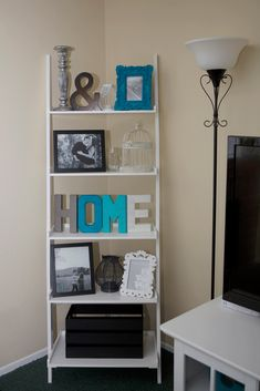 Family Room Decor Gallery Ladder With Lanterns Frames And Yarn Letters Shelf Decorfamily Decoratingdecorating