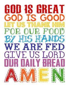 God is Great God is Good. Daily Bread. Dinner Prayer. | Etsy