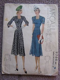McCall Ladies' & Misses' Dress Pattern # size 1938 Mccalls Patterns, Vintage Sewing Patterns, Sewing Ideas, Vintage Inspired Fashion, Vintage Fashion, 1938 Fashion, Vintage Style, Retro Vintage, Historical Dress