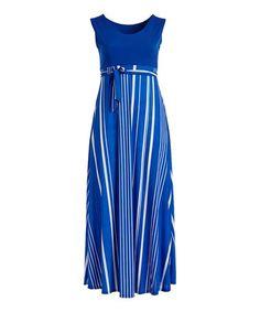 Another great find on #zulily! Royal Blue & White Stripe Tie-Waist Maxi Dress - Plus #zulilyfinds