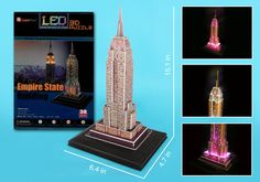 3D puzzle of the Empire State Building with LED lighting. This puzzle is 38 pieces. Dimensions: 6.4