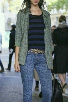 Leopard jeans + leopard camo + striped top, major print mixing!