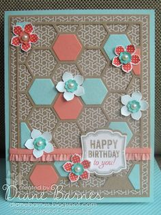Stampin Up Hexagon Hive Petite Petals birthday card by Di Barnes - colourmehappy #stampinup #colourmehappy