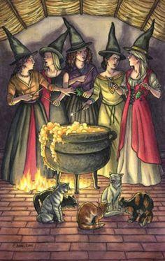 Five / 5 of Wands Everyday Witch Tarot Elisabeth Alba Halloween Pictures, Halloween Art, Vintage Halloween, Halloween Witches, Halloween Table, Halloween Signs, Vintage Holiday, Halloween Candy, Costume Halloween