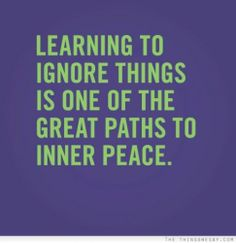 Learning to ignore things is one of the great paths to inner peace.