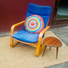 Scandinavian bentwood arm chair, blonde wood, sturdy, blue canvas still good but faded, some blemishes WAS R1600 NOW R1400 includes delivery to door