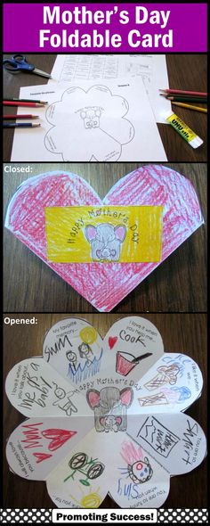 Mother's Day Cards to Make for Kids: In this Mother's Day craftivity, your students will be drawing or writing about their mom, Grandma or special person in their lives. This Mother's Day craft activity works well year after year for multiple grade levels due to the different templates and writing or drawing options! https://www.teacherspayteachers.com/Product/Mothers-Day-Craft-1811533