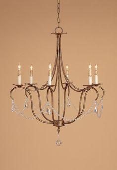 Currey & Company 9880 Crystal Lights 6 Light 27 inch Rhine Gold Chandelier Ceiling Light