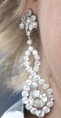 Diamond figure 8 earrings (made with stones from Queen Wilhelmina's Wedding gift parure).