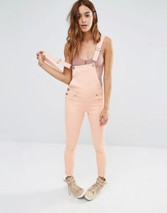 07aa585b714 SO into these pink skinny fit cropped dungarees. Colored Denim