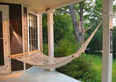 Cool - Hammock on the back porch~~ | CHECK OUT MORE PORCH AND SCREEN DOOR IDEAS AT DECOPINS.COM | #porch #porches #screendoor #screendoors #outside #exterior #homedecor #porching