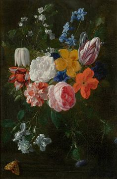 NICOLAES VAN VEERENDAEL  (1640 Antwerp 1691)   Flower bouquet with roses and tulips.   Oil on canvas.  48x31 cm.     Sold for CHF 66 000