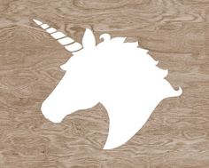 White Unicorn Head Silhouette on Brown Wood by blockpartyprints
