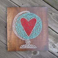 Made to order string art heart in globe sign by Blossomingburlap on etsy
